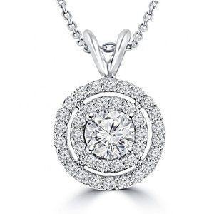 Jewelry - Round cut 3.50 carats diamonds Circle pendant neck
